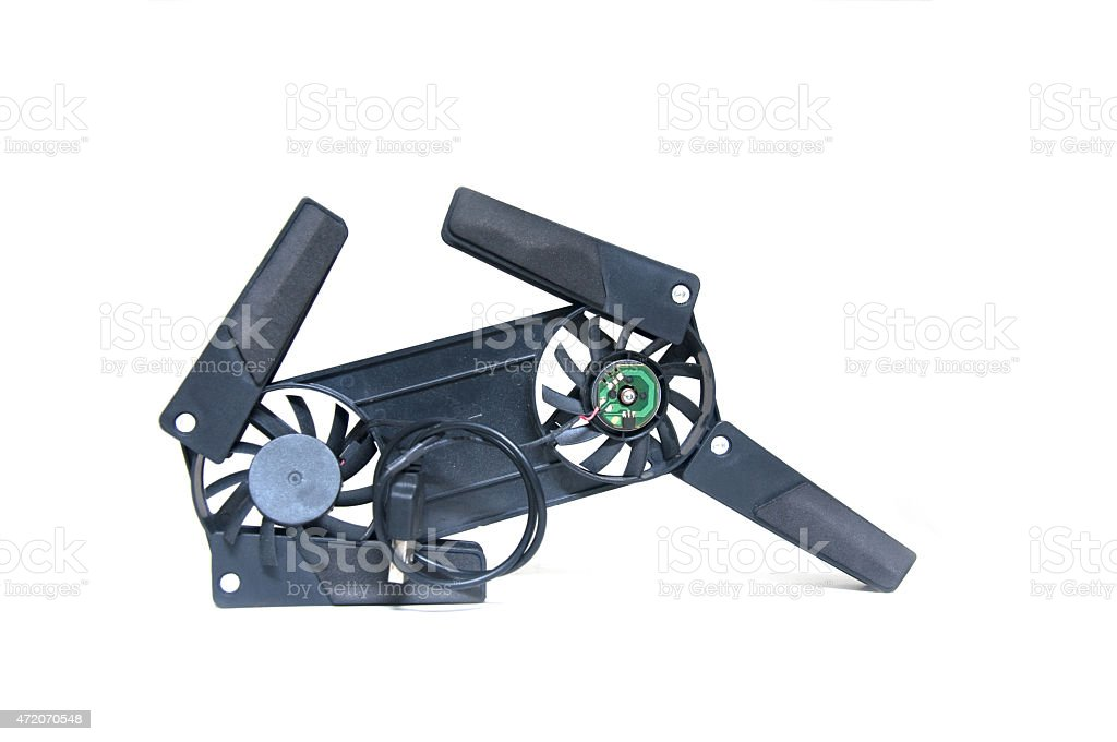 Notebook stand plastic fan on a white background stock photo