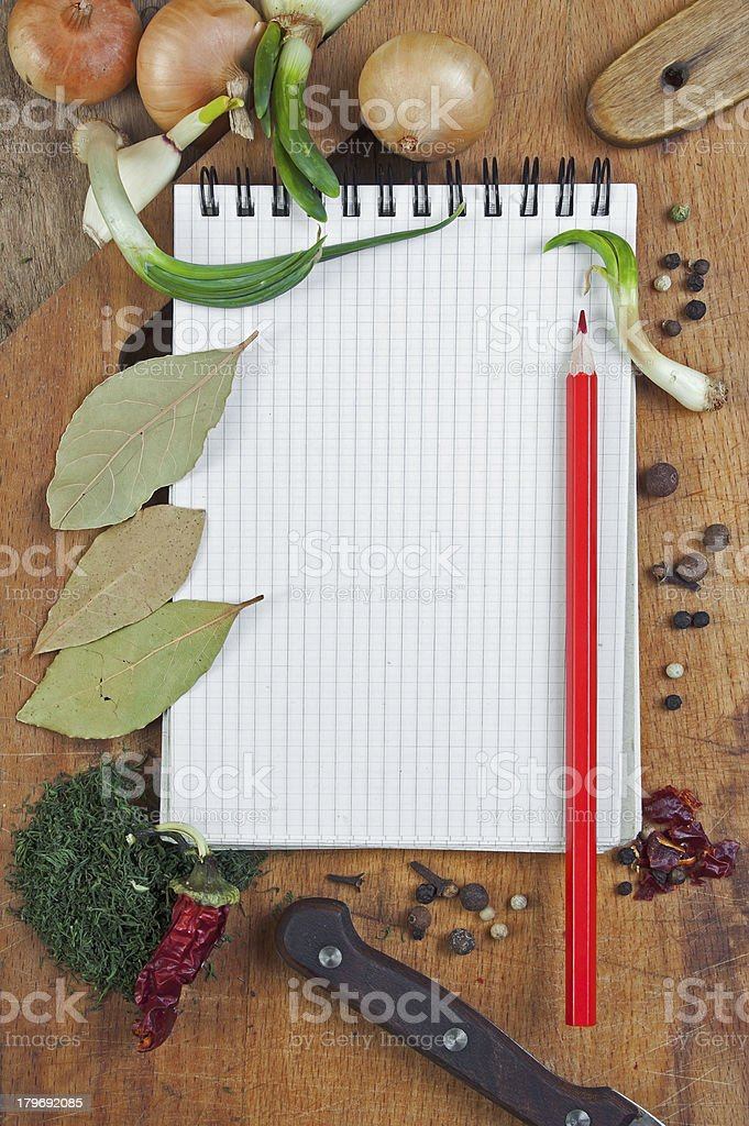 notebook to write recipes with spices royalty-free stock photo