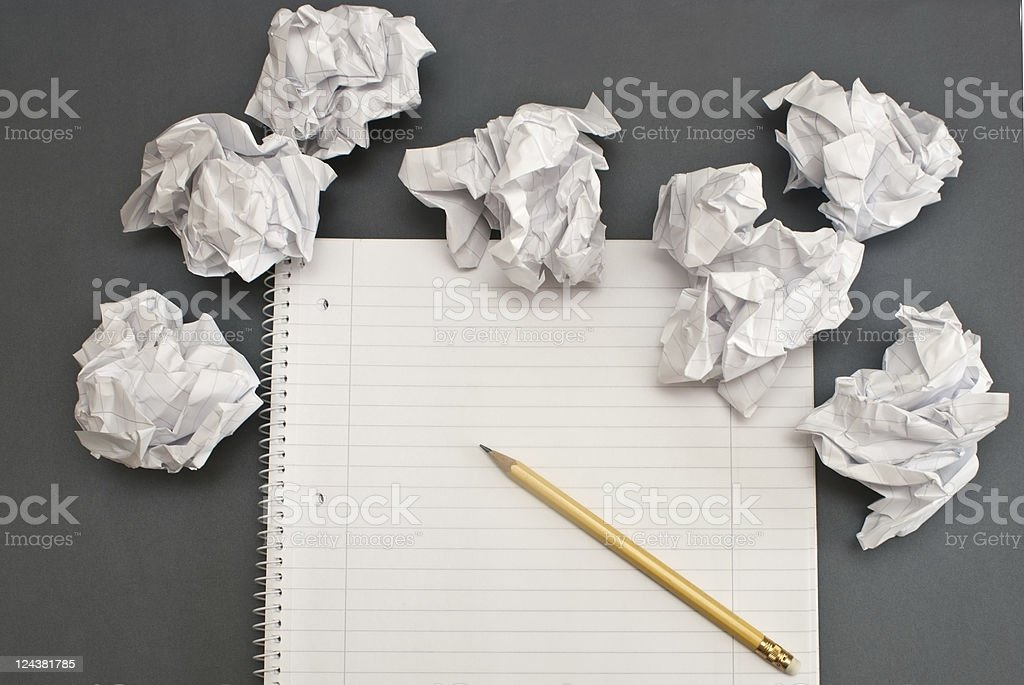 Notebook wit crumpled paper royalty-free stock photo
