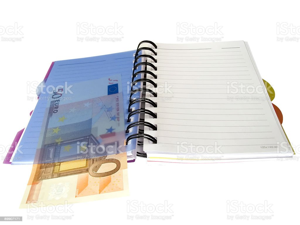 Notebook with Euro money royalty-free stock photo