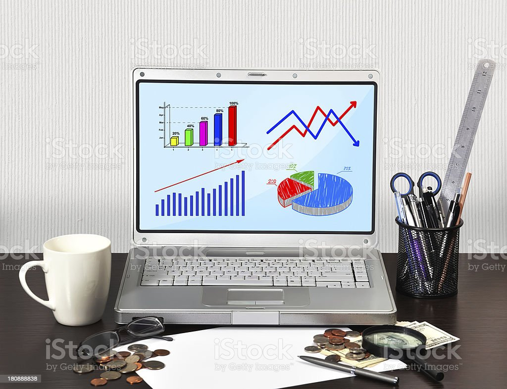 notebook with graphic royalty-free stock photo