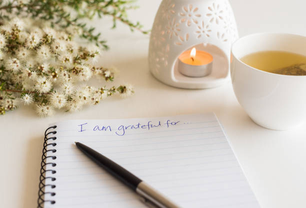 "notebook with ""i am grateful for"" in handwritten text - diario foto e immagini stock"