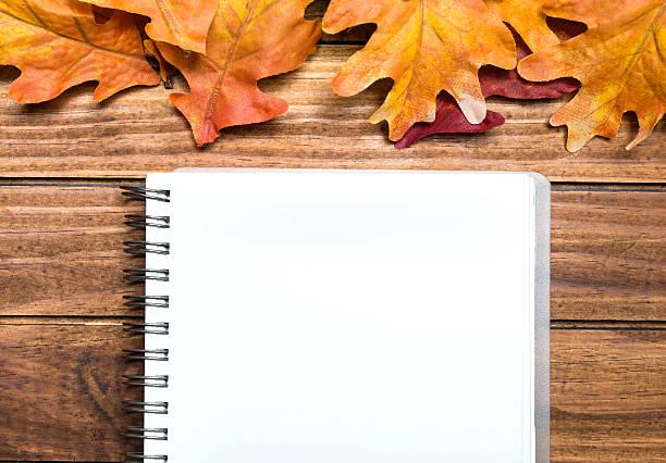 notebook com folhas de fundo - folha de caderno imagens e fotografias de stock
