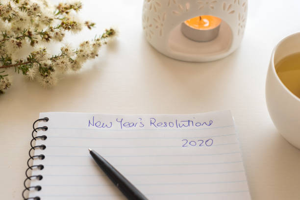Notebook with New Year's Resolutions 2020 stock photo