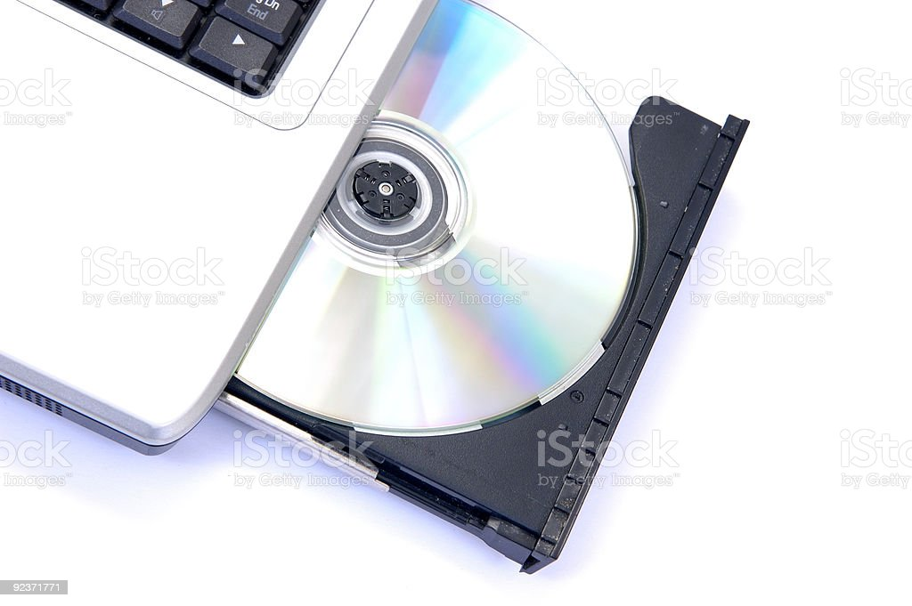 Notebook with open CD-ROM royalty-free stock photo