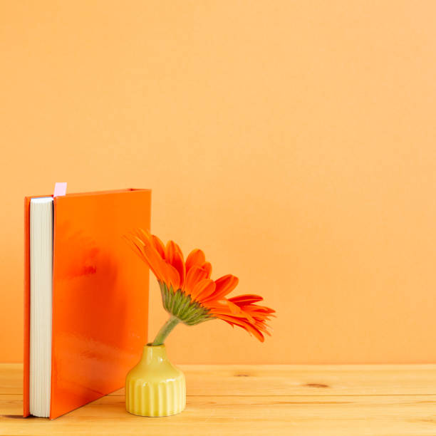 Notebook with orange gerbera flower on wooden table with orange background. Floral arrangement, copy space stock photo