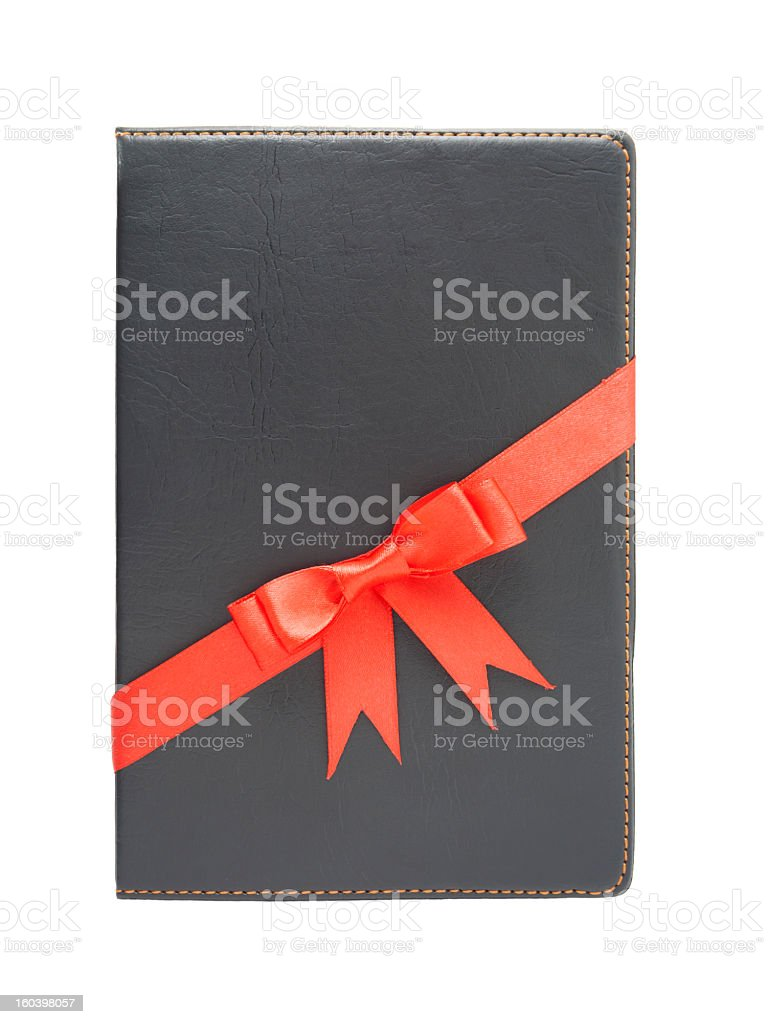 notebook with red bow royalty-free stock photo