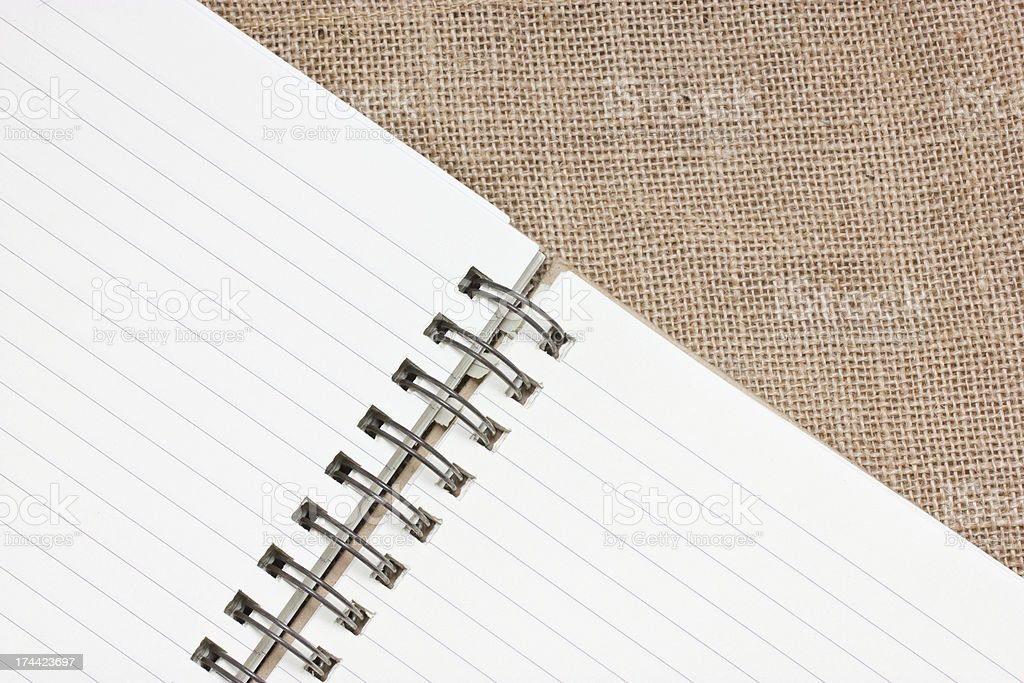Notebook with sackcloth. royalty-free stock photo