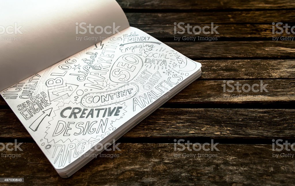 Notebook with sketch of web and Digital Marketing  concepts stock photo