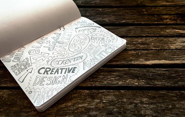 Cuaderno con boceto de la web y de los conceptos de Marketing Digital - foto de stock