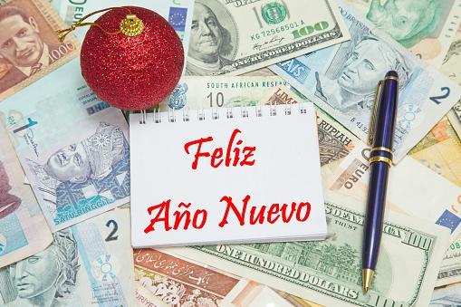 "Notebook with SPANISH text ""FELIZ AÑO NUEVO"" (HAPPY NEW YEAR)"