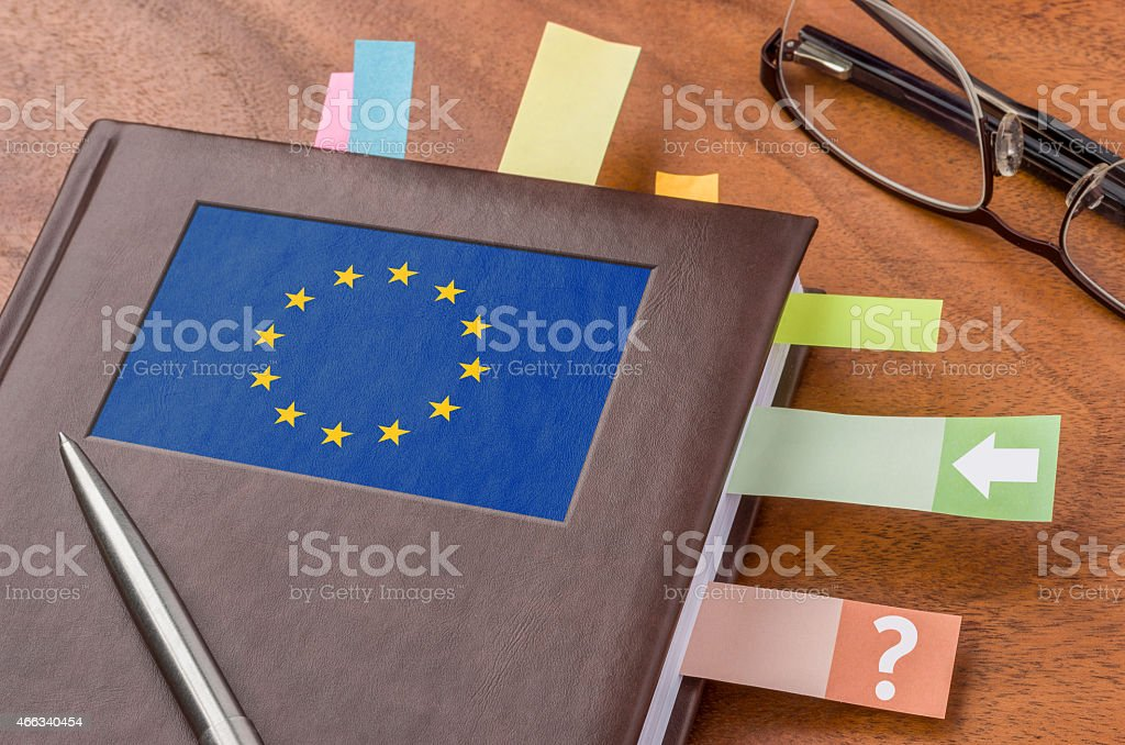 Notebook mit der Flagge der Europäischen Union Lizenzfreies stock-foto