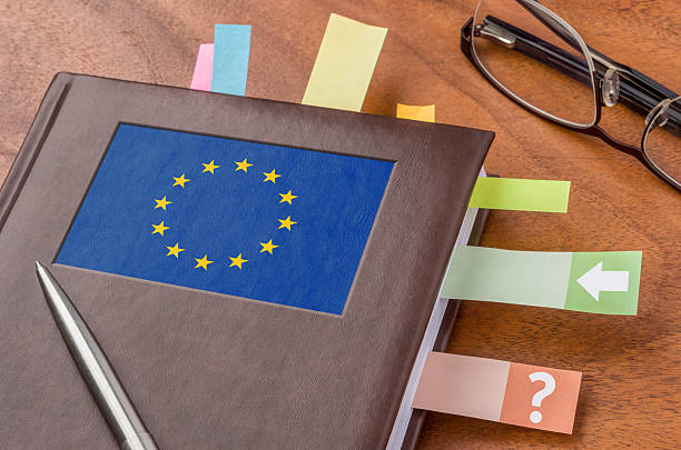 Notebook with the flag of the European Union Notebook with the flag of the European Union foreign affairs stock pictures, royalty-free photos & images