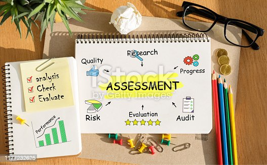 istock Notebook with Toolls and Notes about Assessment,concept 1177232625