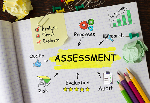 istock Notebook with Toolls and Notes about Assessment,concept 1180980933