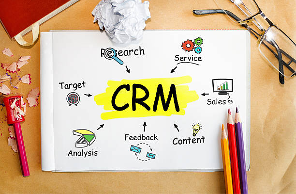 Notebook with Toolls and Notes about CRM,concept - Photo