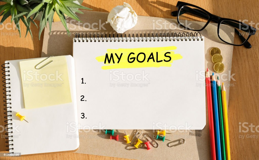 Notebook with Toolls and Notes about My Goals stock photo