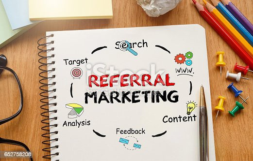 815359666 istock photo Notebook with Toolls and Notes about Referral Marketing 652758208