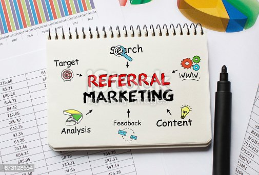 815359666 istock photo Notebook with Toolls and Notes about Referral Marketing 673128554