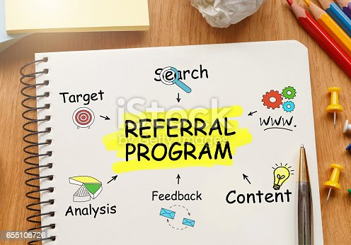 815359666 istock photo Notebook with Toolls and Notes about Referral Program 655108726