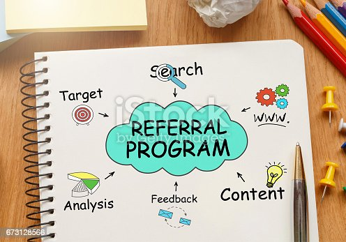 815359666 istock photo Notebook with Toolls and Notes about Referral Program 673128566