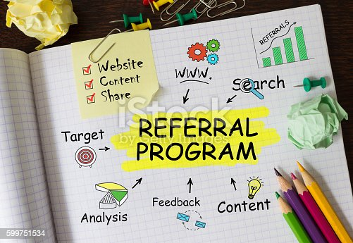 istock Notebook with Toolls and Notes about Referral Program,concept 599751534
