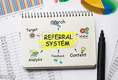 istock Notebook with Toolls and Notes about Referral System 627993146