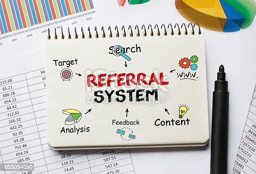 815359666 istock photo Notebook with Toolls and Notes about Referral System 655054090