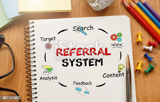 815359666 istock photo Notebook with Toolls and Notes about Referral System 667131952