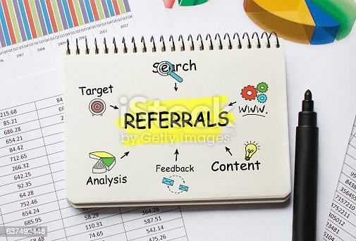 istock Notebook with Toolls and Notes about Referrals 637492448