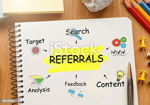 815359666 istock photo Notebook with Toolls and Notes about Referrals 654668414