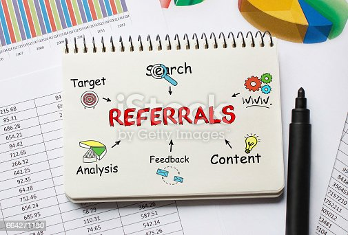 815359666 istock photo Notebook with Toolls and Notes about Referrals 664271180