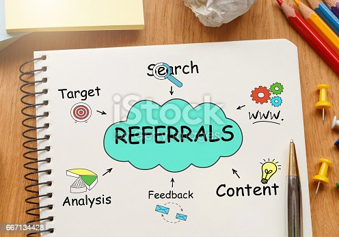 815359666 istock photo Notebook with Toolls and Notes about Referrals 667134428