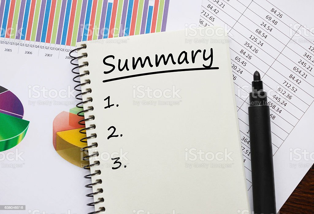 Notebook with Toolls and Notes about Summary stock photo