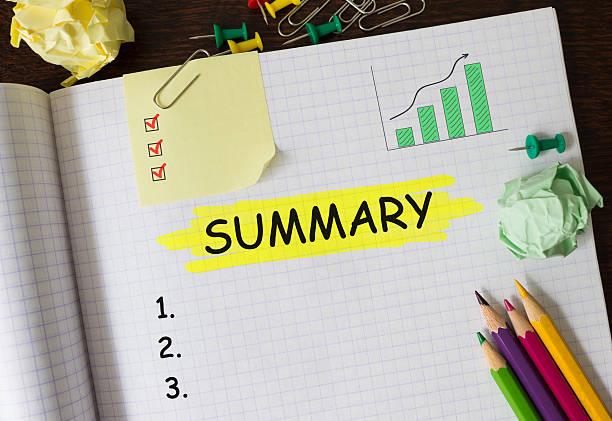 notebook with toolls and notes about summary,concept - unterrichtsplanung vorlagen stock-fotos und bilder