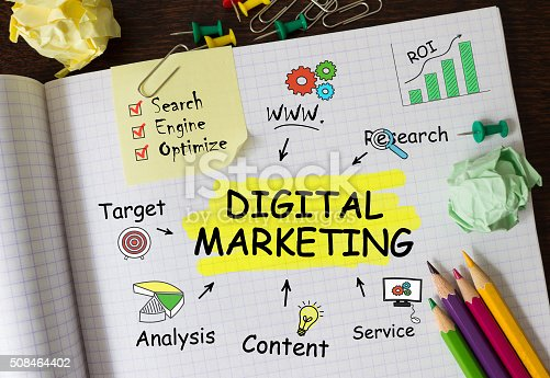 istock Notebook with Tools and Notes about Digital Marketing 508464402
