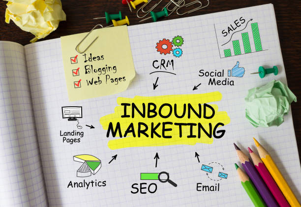 notebook with tools and notes about inbound marketing - inbound marketing imagens e fotografias de stock