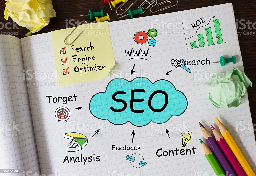 Notebook with Tools and Notes about SEO, concept – Foto