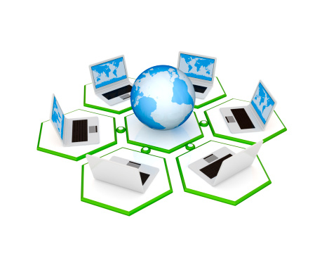 921148564 istock photo Notebooks and planet Earth merged in a network. 133295299