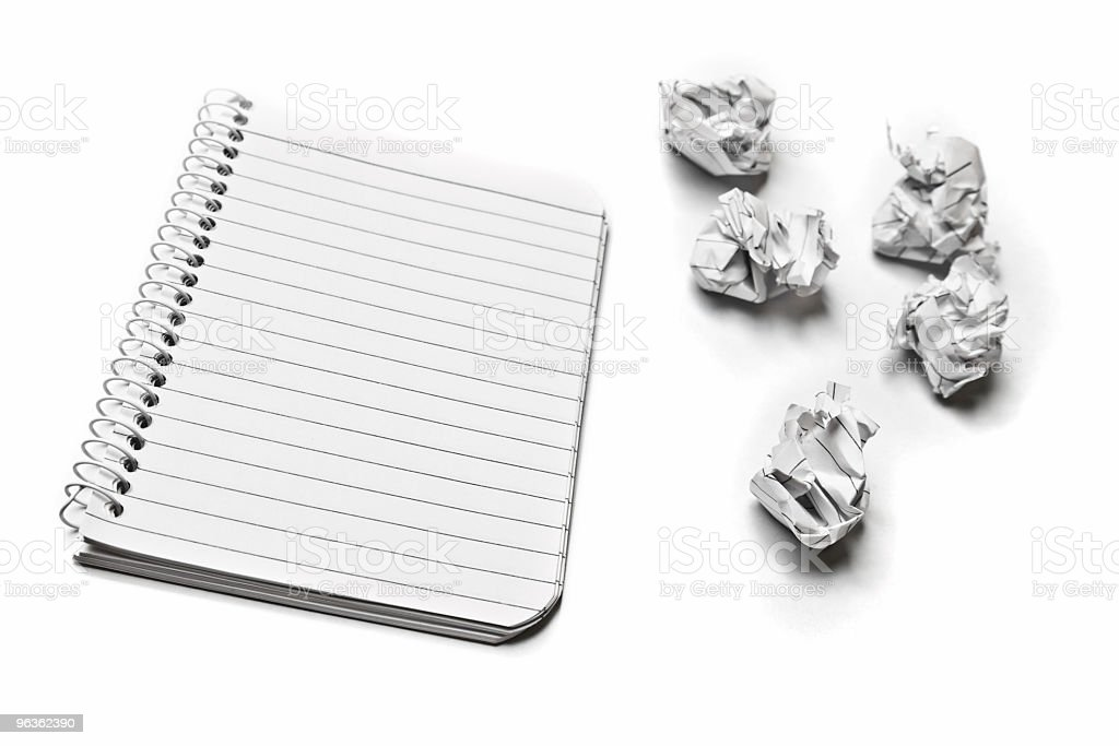 Notepad and Crumpled Paper royalty-free stock photo