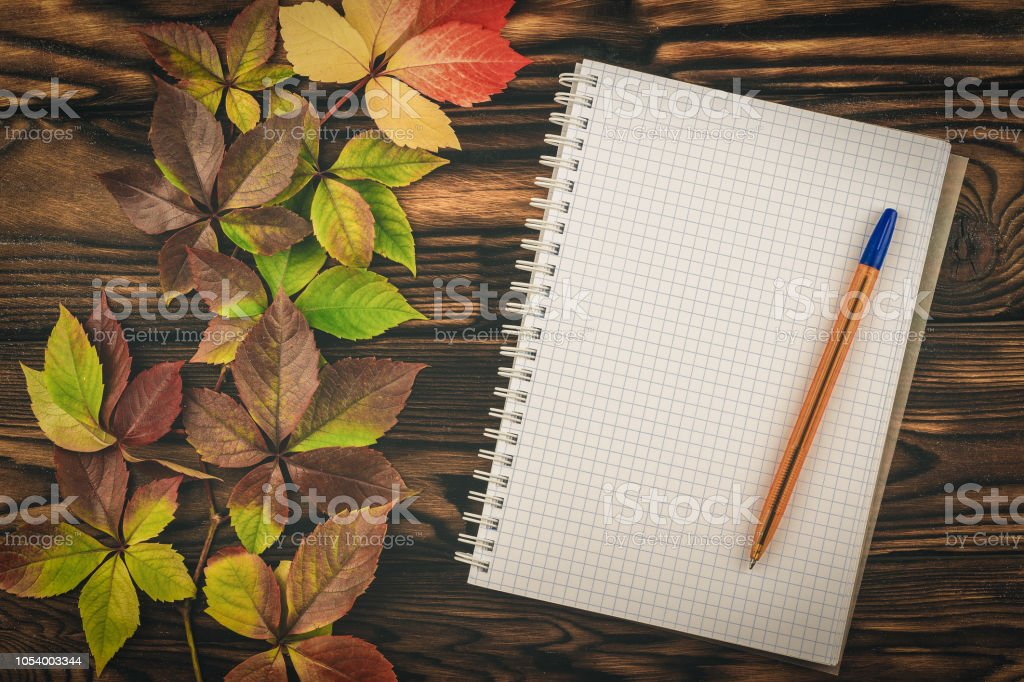 Notepad and pen with autumn leaves on a wooden table. stock photo