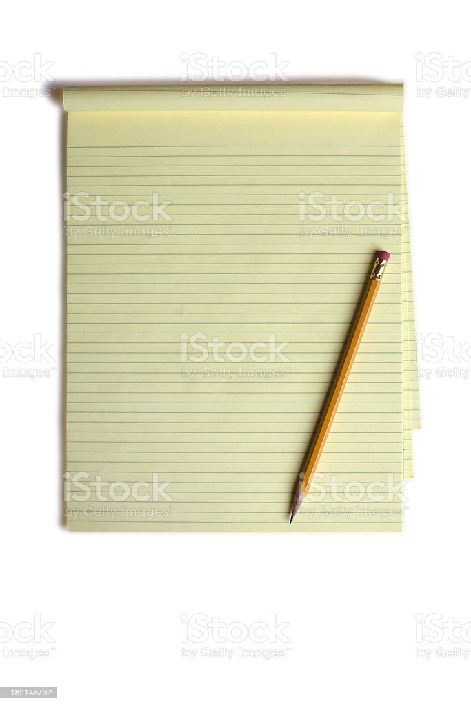 Notepad and Pencil Background royalty-free stock photo