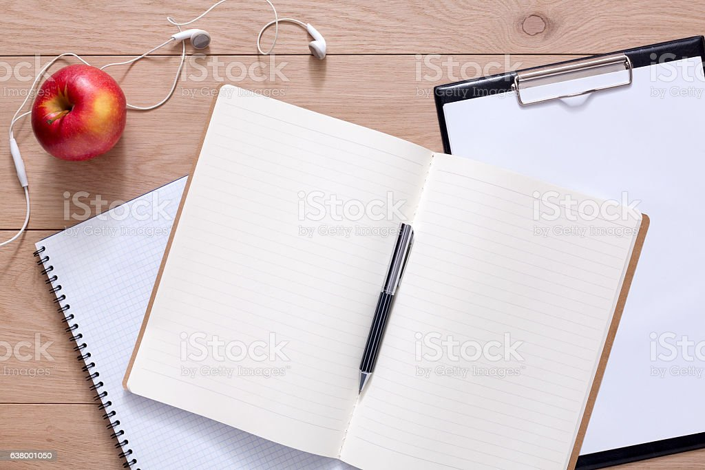 Notepad and personal diary or organizer with pen - Photo