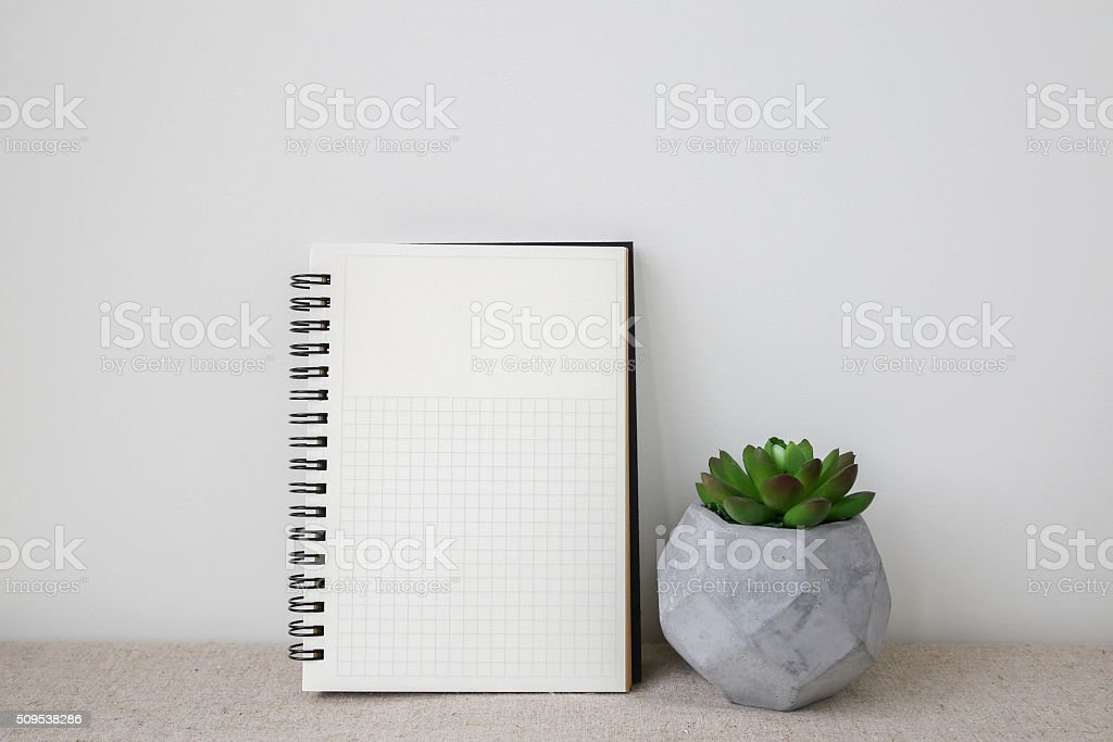 Notepad and plants pots, room interior mockup, copy space backgr