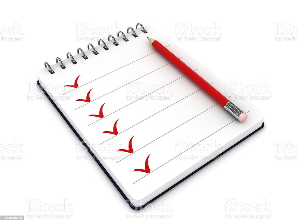 Notepad Checklist royalty-free stock photo