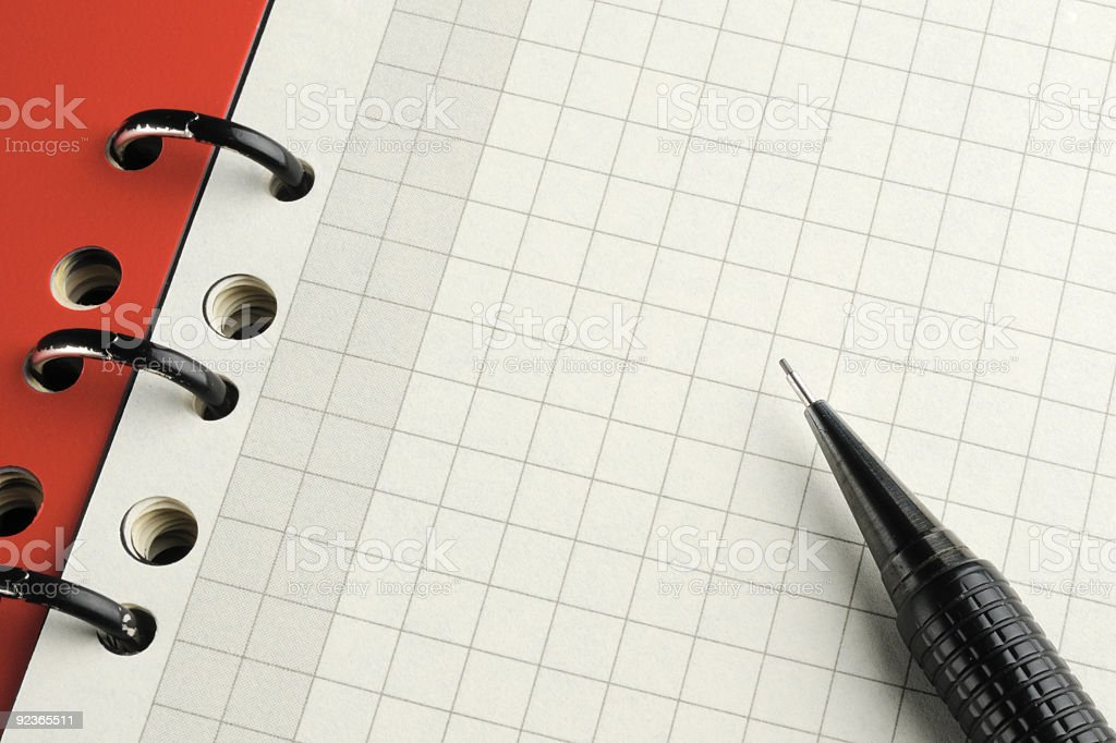 Notepad diary empty squared page pen spiral binding royalty-free stock photo