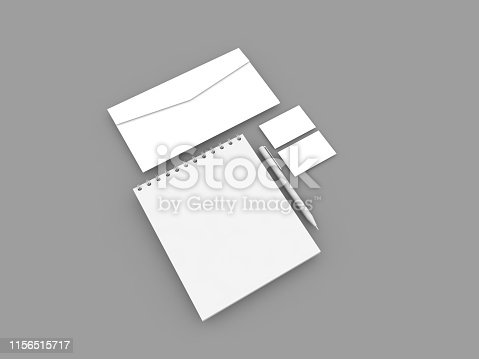istock Notepad envelope business card and pen . 1156515717