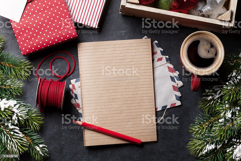 Notepad for christmas letter stock photo