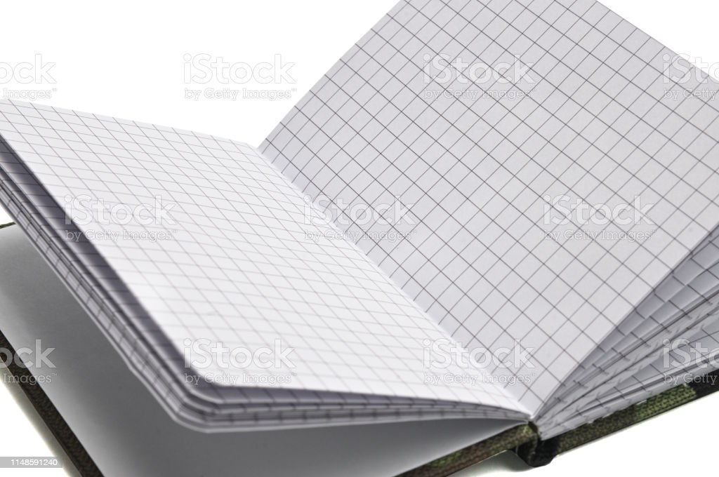 Notepad in military design for everyday notes and notes on a white...