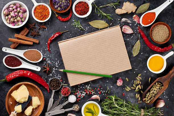 Notepad for your recipe with herbs and spices stock photo
